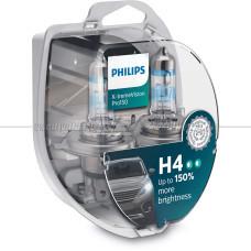 Лампа галогенная PHILIPS H4 X-treme Vision Pro +150% 12V 60/55W (P43t), 2 шт.