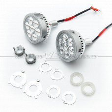 Светодиодный модуль дальнего света (Паучий глаз) + ДХО Красный (комплект 2 шт)