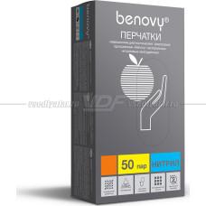 Перчатки нитриловые неопудренные Benovy голубые, р.XL, 50 пар (100шт).