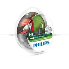 Лампа галогенная PHILIPS H1 LongLife EcoVision 12V 55W, 2 шт.