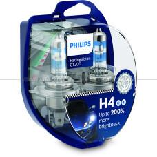 Лампа галогенная PHILIPS H4 Racing Vision GT200 +200% 12V 60/55W (P43t), 2 шт.