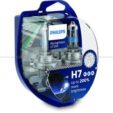 Лампа галогенная PHILIPS H7 Racing Vision GT200 +200% 12V 55W (PX26d), 2 шт.