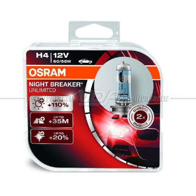 Лампа галогенная OSRAM H4 Night Breaker Unlimited 12V 60/55W, 2шт.