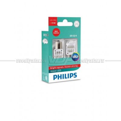 PHILIPS LED P21W RED 2шт.