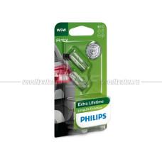 Лампа накаливания PHILIPS W5W LongLife EcoVision 12V 5W, 2шт