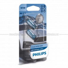 Лампа накаливания PHILIPS W5W White Vision ultra 12V 5W, 2шт